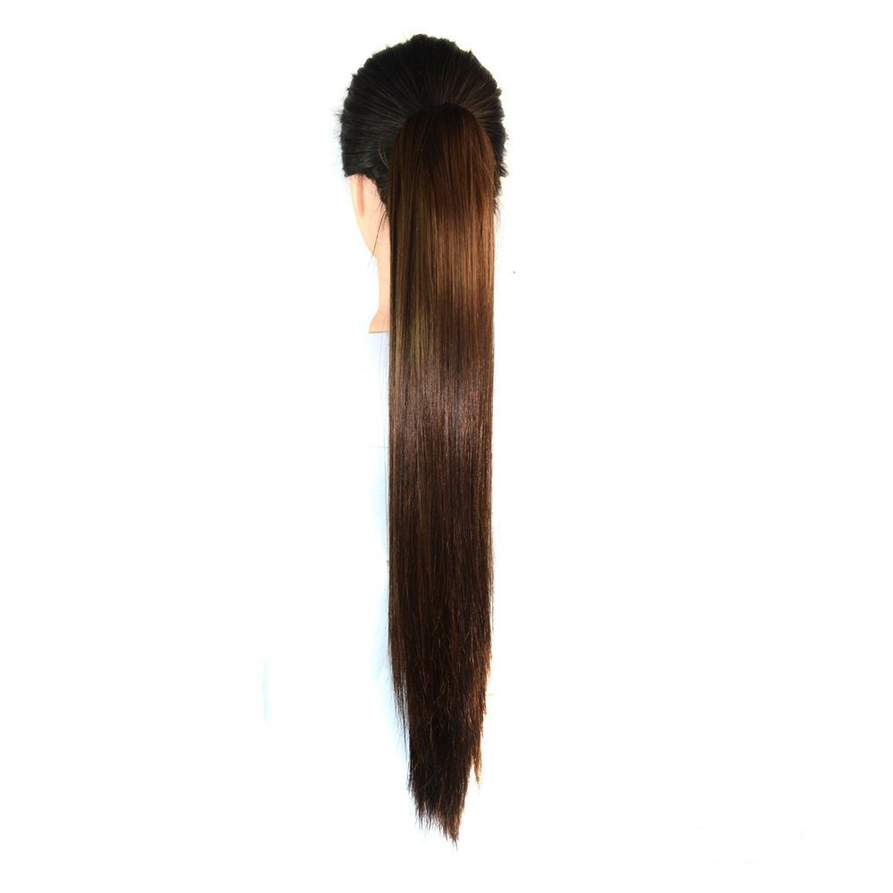 ABWIN Unique Hairstyle Collection Long Straight Hair Extension Claw Ponytail Hairpiece (Brown Black)