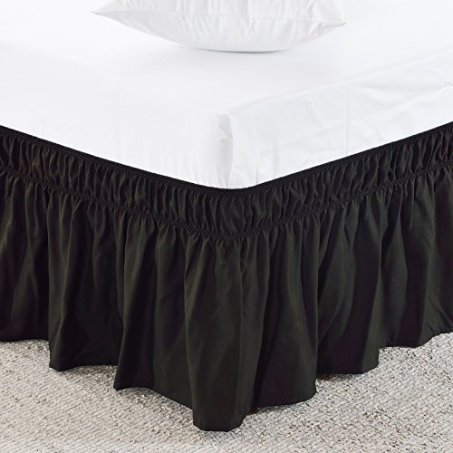 MeiLa Three Fabric Sides Wrap Around Elastic Solid Bed Skirt, Easy On/Easy Off Dust Ruffled Bed Skirts 16 Inch Tailored Drop (Black Twin/Full) - Black Full Bedskirt