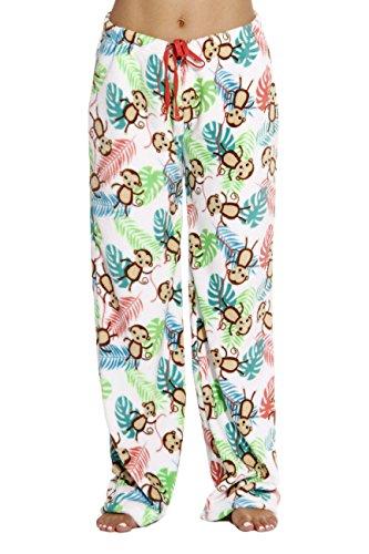 6339-10125-2X Just Love Women's Plush Pajama Pants - Petite to Plus Size Pajamas,White - Monkey,2X - Monkey Fleece