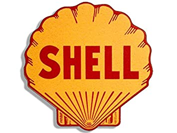 American Vinyl Vintage Shell Gas Station Logo Shaped Sticker (Motorcycle  car Gasoline)