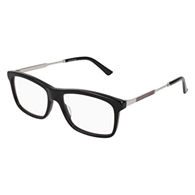 0b8f087c04946 Amazon.com  Eyeglasses Gucci GG 0302 O- 003 BLACK SILVER  Clothing