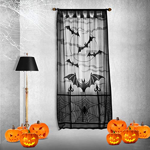 CrtWorld Halloween Black Lace Window Curtain 40X84 Inch Spider Web Bats Door Curtain Panel for Halloween Party Decoration(Window Curtain) ()