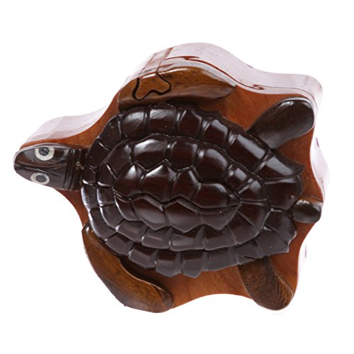 (Handcrafted Wooden Animal Shape Secret Jewelry Puzzle Box - Turtle)