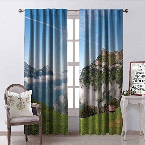 GloriaJohnson Mountain 99% Blackout Curtains Pastoral View Switzerland Lake Lucerne Cloudy Grassland Pines Altdorf Uri for Bedroom Kindergarten Living Room W42 x L90 Inch Blue Green White