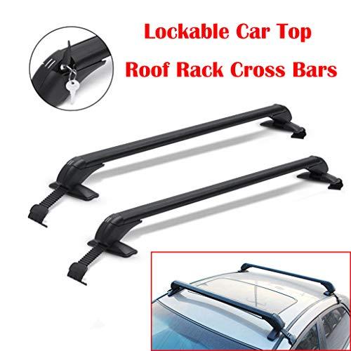 Yiya Pair of Car Top Roof Rack Cross Bars Lockable Bar Luggage Cargo Carrier Rack for 4DR Car Sedans SUVs