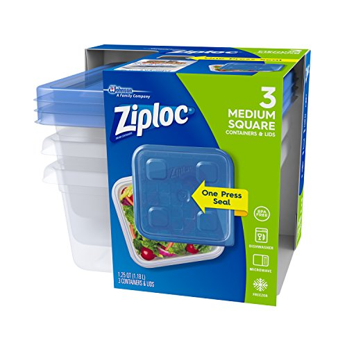 Ziploc Food Storage Containers, Perfect for on-the-go snacking, BPA Free, Medium Square, 3 Count