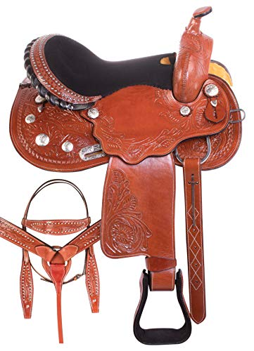 - AceRugs Western Barrel Racing Silver Show Horse Saddles Premium Tooled Cowhide Leather Free TACK Bridle REINS Breast Collar (Chestnut Dark, 16)