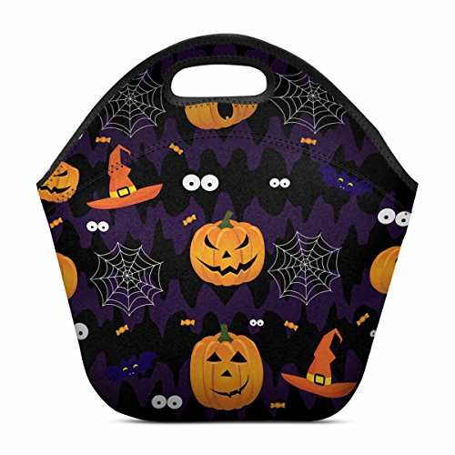 InterestPrint-Abstract Funny Halloween Pumpkin Scary Face Lunch Tote Bag,Insulated Neoprene Portable Lunch Bags,Reusable Bento Lunchbox Handbag for Men Women Adult Child Girls (Scary Halloween Zipper Face)