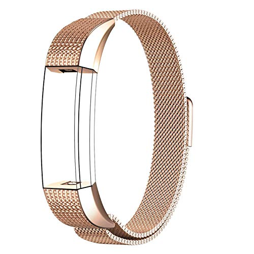 SWEES Sport Bands Compatible Fitbit Alta HR Accessory Bands, Stainless Steel Magnetic Wristband Watch Band Replacement Fitbit Alta/Alta HR Small (5.5 - 8.6) for Women Men, Rose Gold