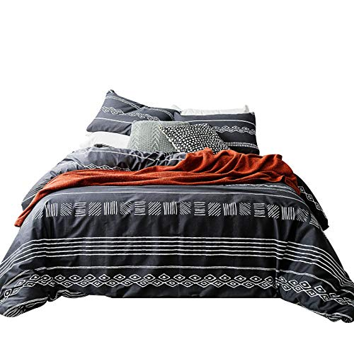 SUSYBAO 3 Piece Duvet Cover Set 100% Natural Cotton Queen Size Black and White Aztec Bedding Set with Zipper Ties 1 Geometric Duvet Cover 2 Pillowcases Luxury Quality Breathable Comfortable Durable ()