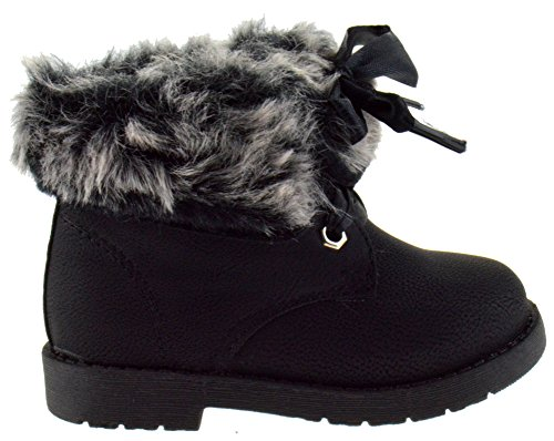 Lucina 2A Little Girls Fur Lave Up Combat Toddler Winter Boots