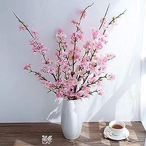Ahvoler 3 pcs Artificial Cherry Blossom Branches Silk Plum Peach Blossom Flowers Tree, 43 inch, Pink (Pink-3 Stems) 96