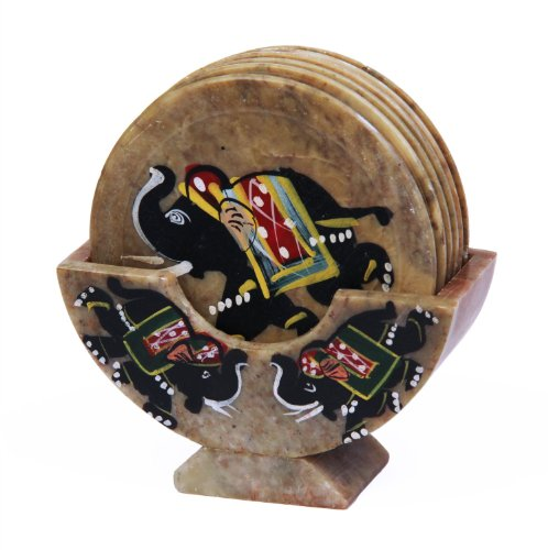 Royal Set of 6 Hand Carved Marble Bar Coaster with Hand-painted Elephant Design Gift Ideas - Painted Elephant