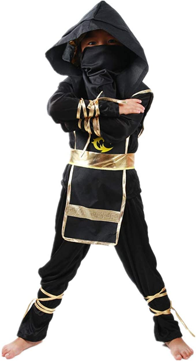 WINZIK Kids Ninja Suit Role Play Costume Halloween Cosplay Party Dress Up Outfit Clothing Set for Boys Girls