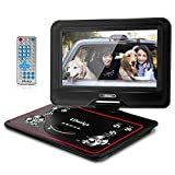 10.5-Inch Portable DVD Player, LDesign Headrest DVD Player for Car with Swivel Screen, 4-Hour Rechargeable Battery, SD Card Reading & USB Port, Remote Control, Multi Format and Charge in Car Supported