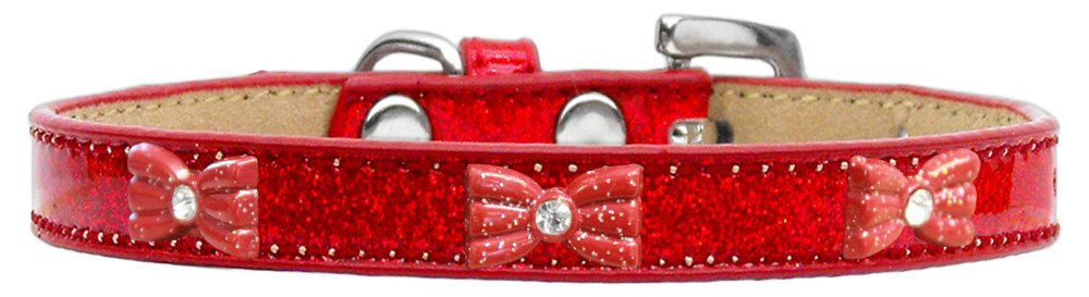 Red Size 20 Red Size 20 Mirage Pet Products 633-10 RD20 Glitter Bow Widget Dog Collar, Size 20, Red