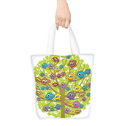 Folding Shopping Bag Funny Decor Cartoon Group of Fun Colorful Canary Bird Family on Oak Tree Branches Animal Art Illustration Multi (W15.75 x L17.71 Inch) (Bag Partridge Shopping Family)