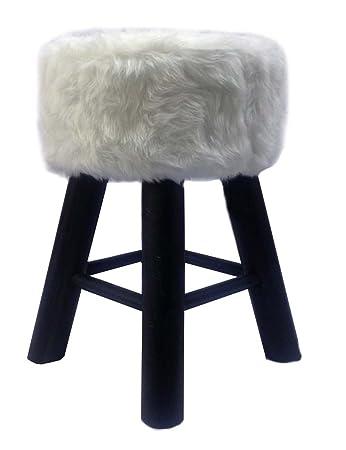 Stupendous Df4U Round Stool White Faux Fur Black Pine Legs Small Alphanode Cool Chair Designs And Ideas Alphanodeonline
