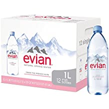 evian Natural Spring Water One Case of 12 Individual 1 Liter 33.8 Ounce Large Bottles, Naturally Filtered Spring Water in Large Bottles