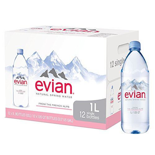Evian Natural Spring Water (One Case of 12 Individual Bottles, each bottle is 1 liter) Naturally Filtered Spring Water in Large Bottles (Best Bottled Water Review)
