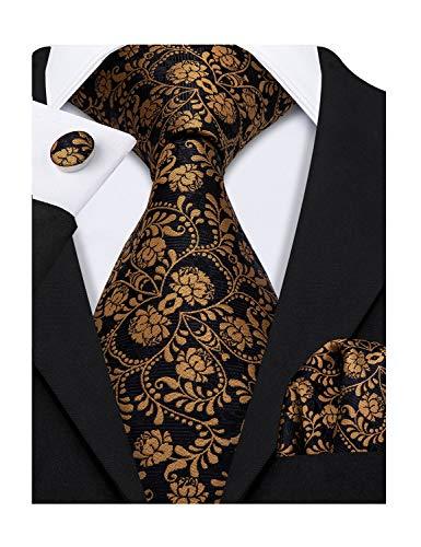 Barry.Wang Flower Ties for Men Black Orange Necktie Pocket Square Cufflink