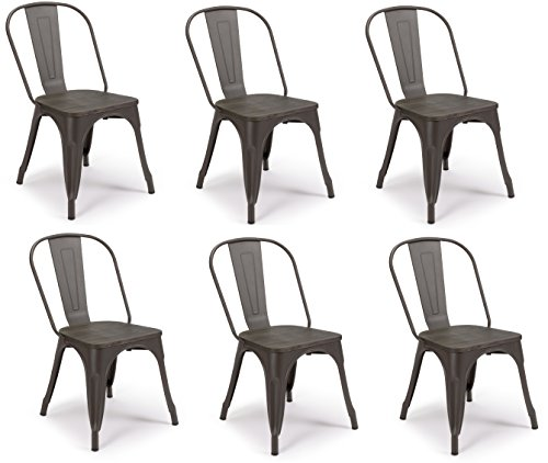 SET OF 6 Tolix Style Iron Chairs, WRIGHT w Wood Top Chair, Sturdy/Stackable Vintage Tabouret Chair, Bistro Chair, Café Chair Indoor and Outdoor Armless with Back
