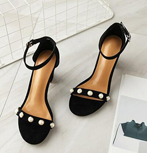 Trendy Chunky Mid Sandals Ankle Heel Womens Faux Strap Suede Beaded Toe Open Easemax Black Buckle Pq54Oc