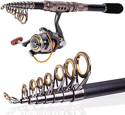 Sougayilang Spinning Telescopic Portable Fishing Rod Combos Travel Carbon Fishing Rod and Reel Set