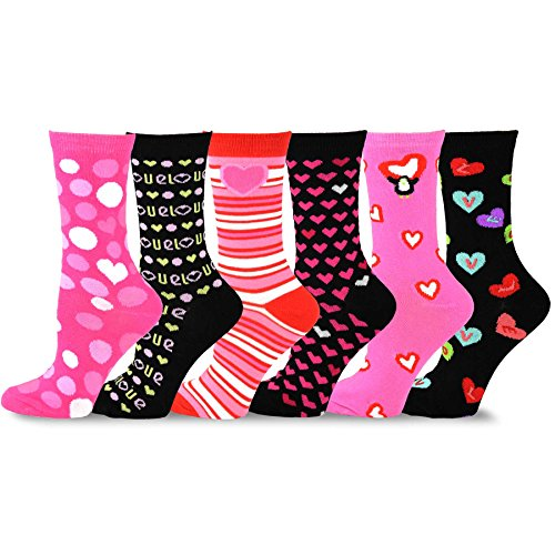 TeeHee Valentine's Day Heart and Love Women's Crew Socks 6-Pack (Pink and Black)