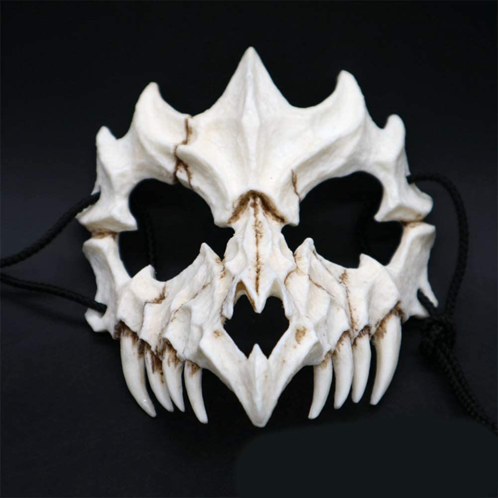 MeterMall Halloween Decorations Japanese Gods Style Deluxe Resin Ninja Mask Prom Performance Art Mask Dragon God