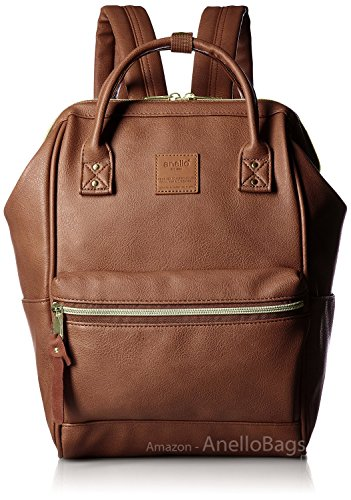 Japan Anello Backpack Unisex BROWN MINI SMALL PU LEATHER Rucksack School Bag Campus