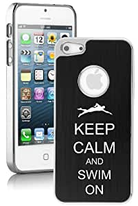 Apple iPhone 5 5S Black 5E1335 Aluminum Plated Chrome Hard Back Case Cover Keep Calm and Swim On Swimmer