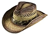 Broner Mens Stained Straw Cowboy Hat with Camouflage Band, Large
