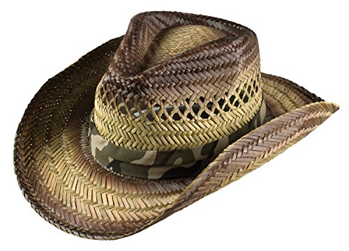 Sun Protection Cowboy (Broner Mens Stained Straw Cowboy Hat with Camouflage Band, Large)