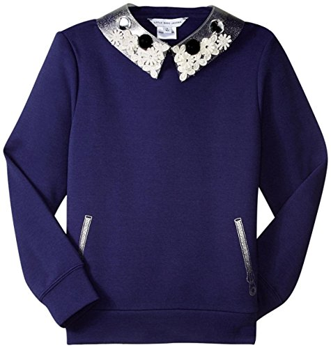 Little Marc Jacobs Girls' Milano Sweatshirt with Removable Cabochons Collar, Eclipse, 4A by Little Marc Jacobs
