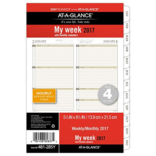 Day Runner Weekly / Monthly Planner Refill 2017, 5-1/2 x 8-1/2