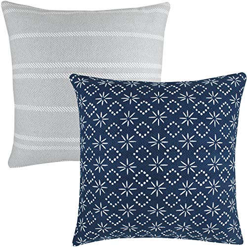 Woven Nook Decorative Throw Pillow Covers ONLY for Couch, Sofa, or Bed Set of 2 18 x 18 inch Modern Quality Design 100% Cotton Thick Woven Navy Grey Zuri (Throw Pillows Decorative Designer)
