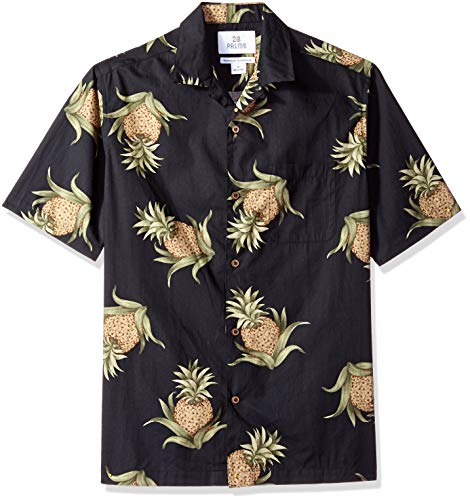 28 Palms Men's Relaxed-Fit 100% Cotton Tropical Hawaiian Shirt, Black Pineapple, Large ()