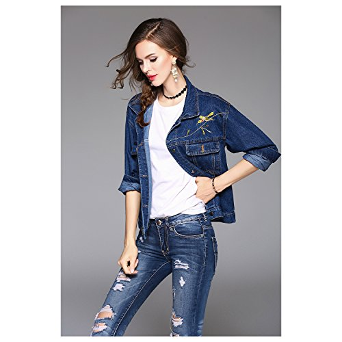 Size One Sleeve Women's Turn Jacket 8~12 Fashion Casual New SODIAL Embroidery Blue Single Floral down US 4~8 R Collar UK Spring Outwear Breasted Autumn Blue Pocket Long XwWqRW145