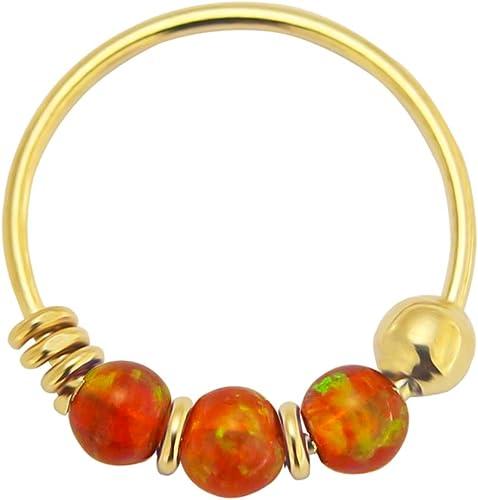 9K Gelb Gold dreifach Opal Perle 22 Gauge Hoop Nasenring Nase Piercing