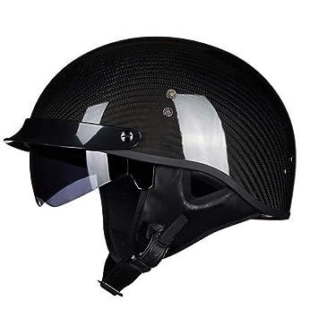 Casco De Moto De Fibra De Carbono Ultraligero Casco Harley Cómodo Seguridad Medio Casco Adecuado para
