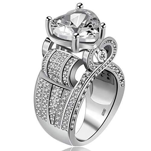 Uloveido White Gold Plated Tiny Cubic Zirconia Crystal Cocktail Statement Promise Love Heart Solitaire Accent Fashion Ring for Women Wedding Anniversary (Size 7) Y429
