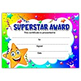 Superstar Award kids Certificates | A6 Pack of 20 | Ideal for Nurseries Schools Kids Clubs | 200gsm Gloss Quality Cards