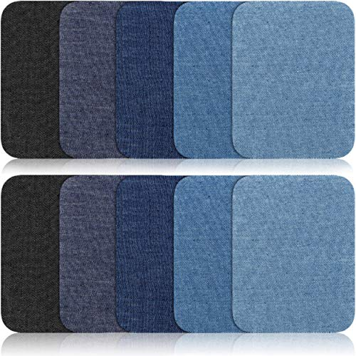 Iron On Patches - 15Pcs Denim Patches for Clothing - 5 Colors - 100% Cotton - Easy to Apply - Practical  Versatile - Ideal for Repairing, Decorating, Reinforcing (4.9- inch-by-3.7-inch)
