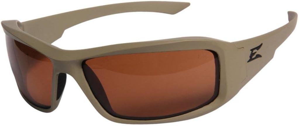 Edge Eyewear Hamel Thin Temple Glasses, Matte Sand Frame/Polarized Copper Lens