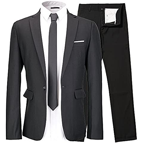 Men's Suit 2-Piece One Button Vintage Church Suit for Men Black Suit US 38R - Button Fly Suit