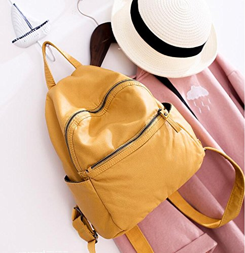 Yellow Simple and Backpack Handbag Leather Meaeo Small Soft Generous Bag Yellow Backpack qnRx4HPw