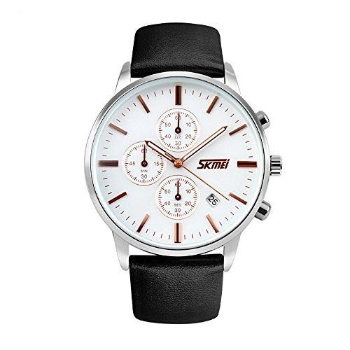 [J.Market Quartz Watch Men Chronograph Stopwatch Multi-function with Genuine Leather Band (White dial)] (Leather Genuine Chronograph)