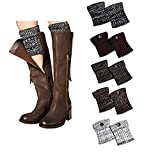 Bestjybt Womens Short Boots Socks Crochet Knitted Boot Cuffs Leg Warmers Socks (5 Pairs-Style G)