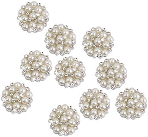 【ノーブランド品】クリスタル ラインストーン パール 花型 飾りボタン 22mm 10個 ビーズ アクセサリーパーツ 縫製 ボタン 手芸材料